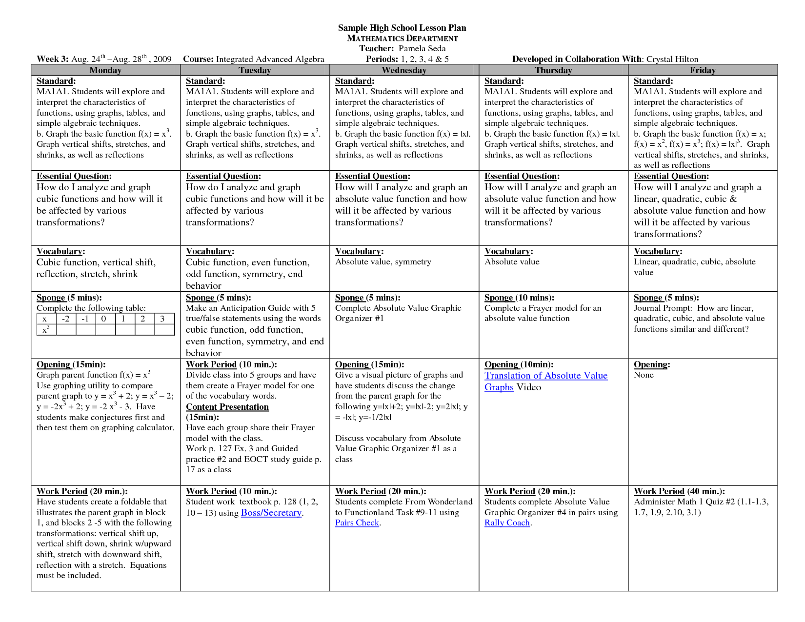 Lesson Plan Template High School Math