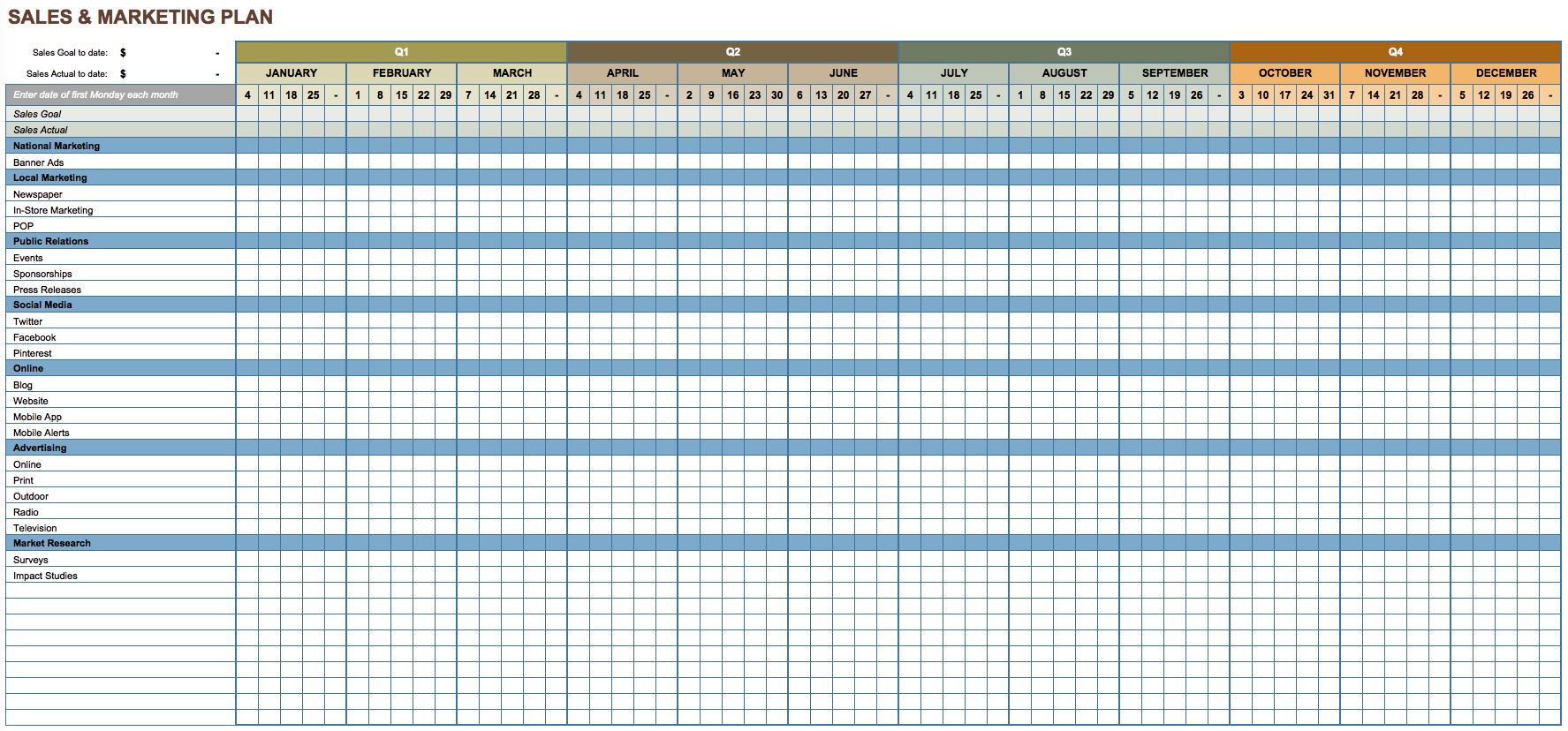 Sales Plan Template Excel Free Download Printable