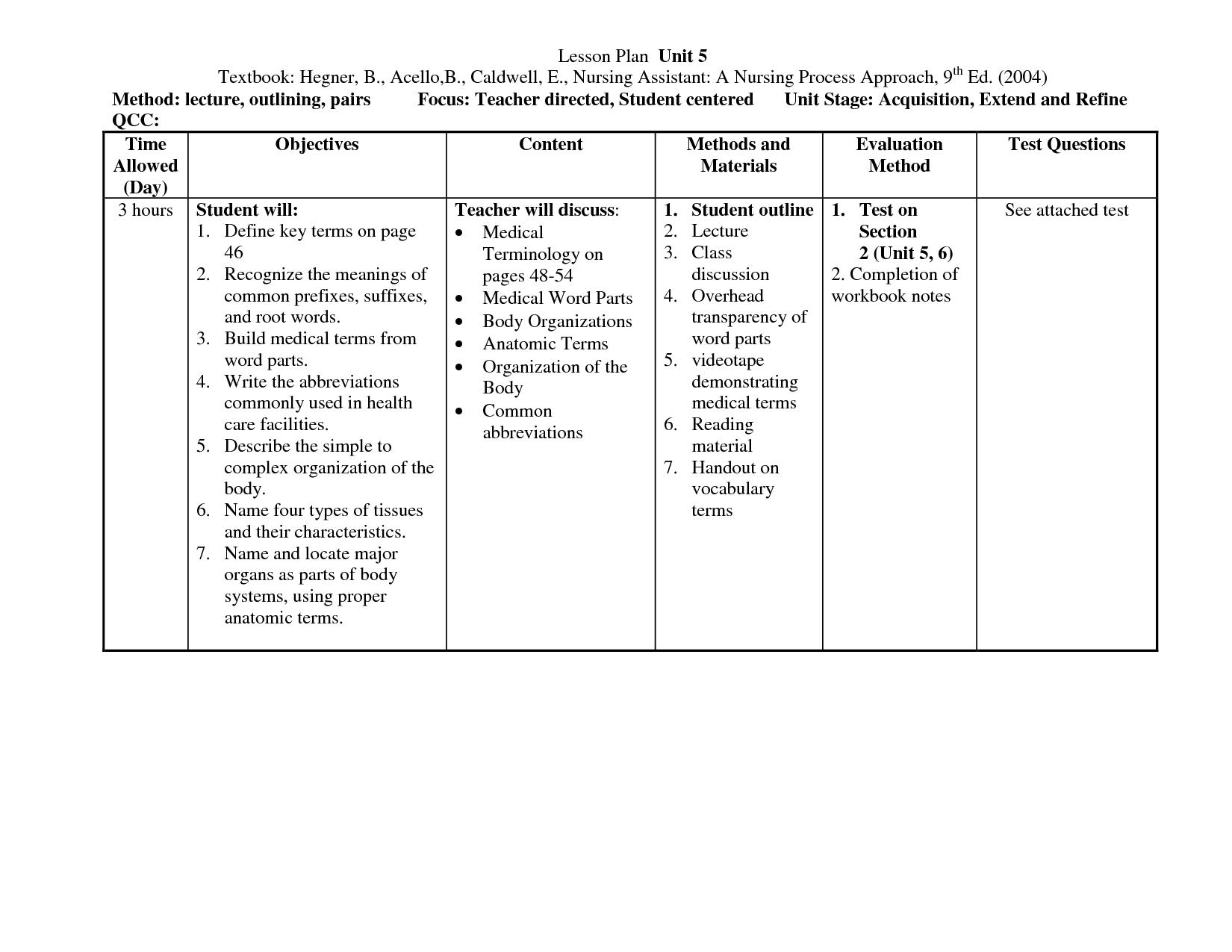Teaching Plan Template For Nurses Printable Schedule