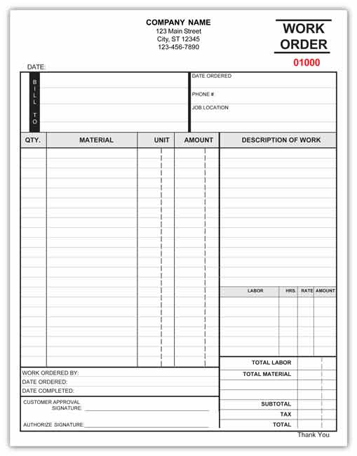 work order templates
