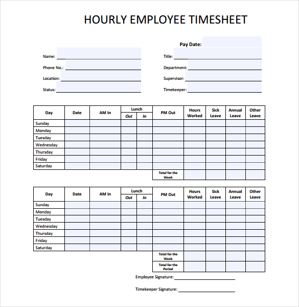 hourly employee time sheet