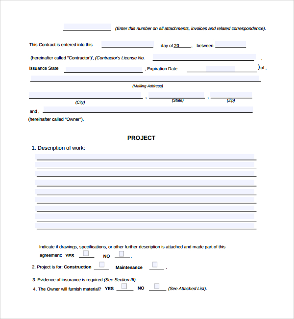 construction work order template