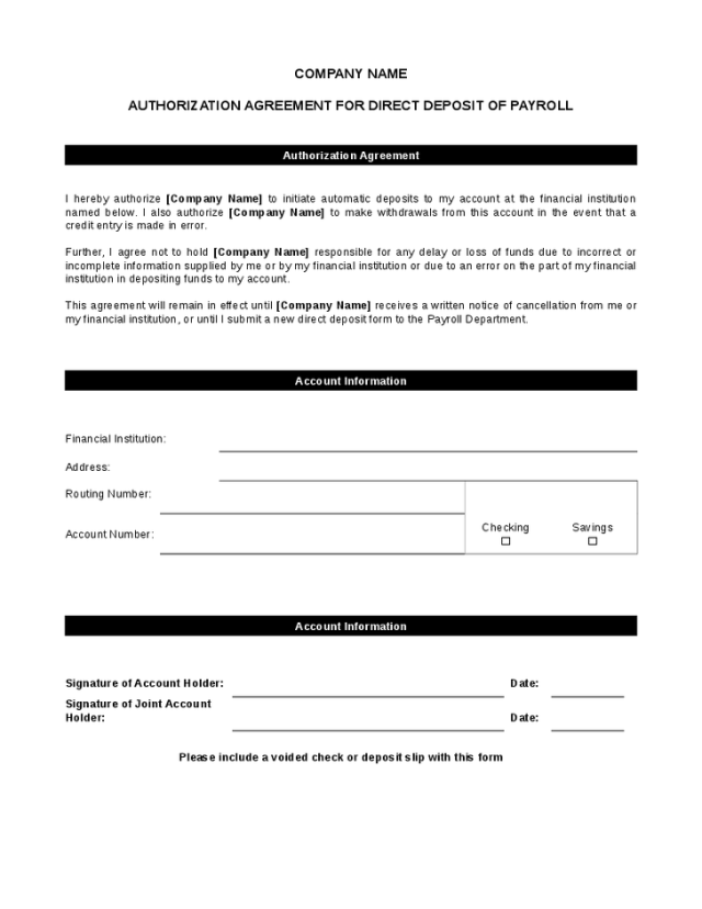 vendor direct deposit authorization form quickbooks