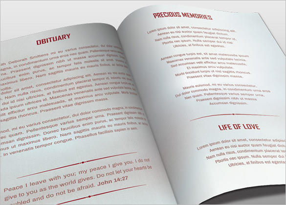 Bi Fold Obituary Template