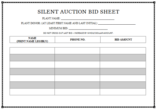 Striking image regarding free printable silent auction templates