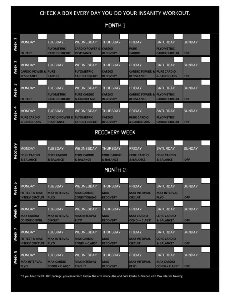 photograph regarding Printable Insanity Calendar called Madness Exercise session Timetable - Free of charge Obtain