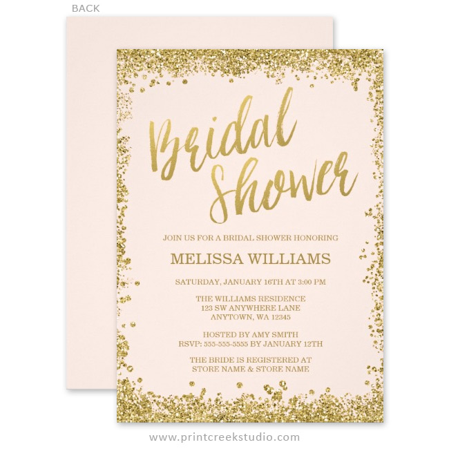 Blush Pink Gold Faux Glitter Bridal Shower Invitations