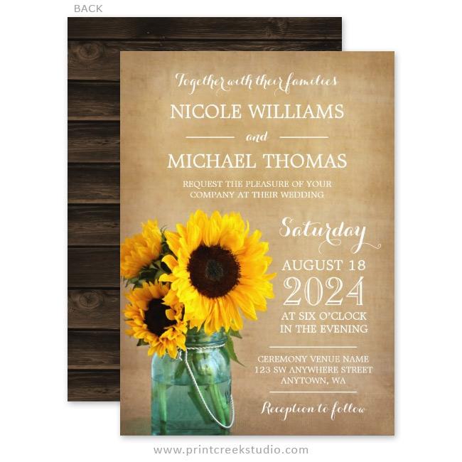 Rustic Sunflowers Mason Jar Country Wedding Invitations