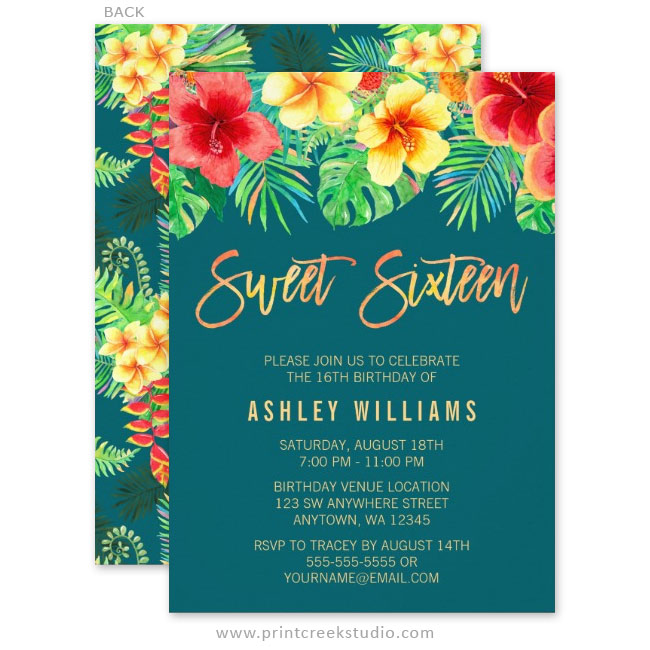 Tropical Watercolor Flowers Sweet 16 Birthday Invitations