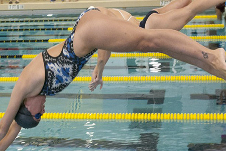 A swimmer diving in