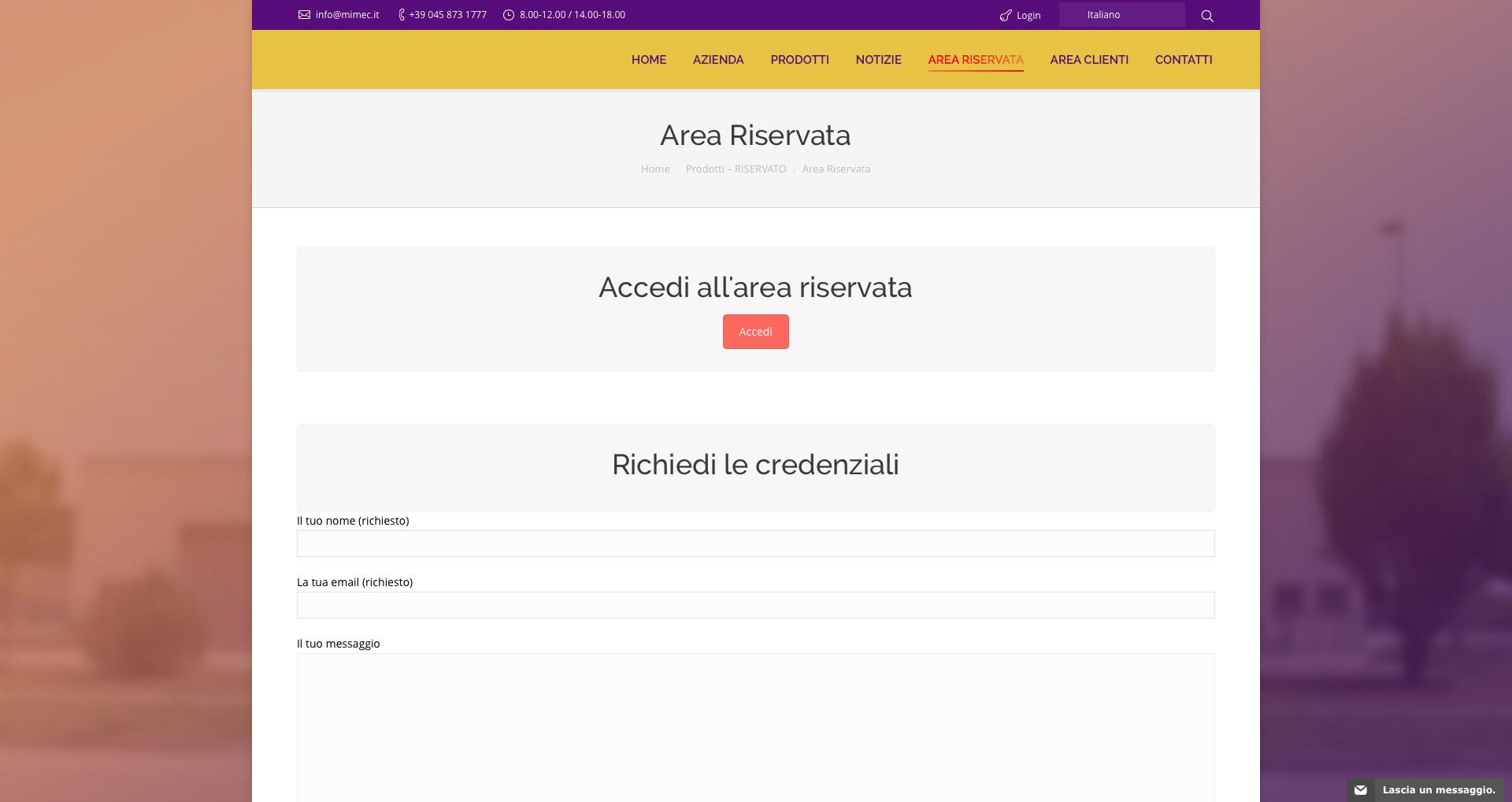 Sito web Nuova Mimec - Home page - Accesso all'area riservata