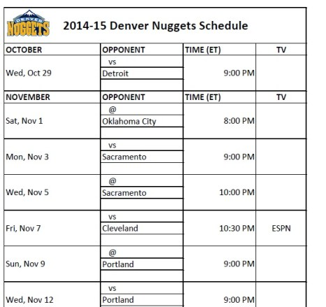 2014-15 Denver Nuggets Schedule