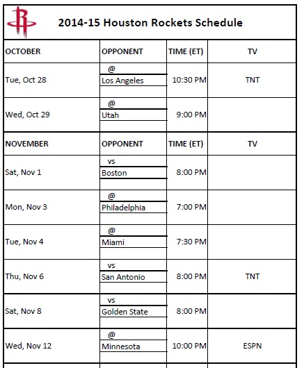 photograph about Golden State Warriors Printable Schedule known as Houston Rockets - PrinterFriendly