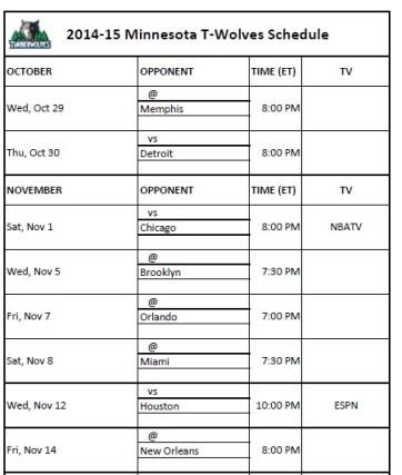 2014-15 Minnesota Timberwolves Schedule