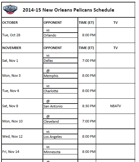 photo about Spurs Schedule Printable known as Fresh new Orleans Pelicans - PrinterFriendly