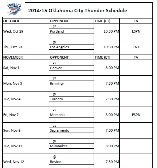 photo relating to Okc Thunder Printable Schedule known as 2014-15 Oklahoma Town Thunder Routine - PrinterFriendly