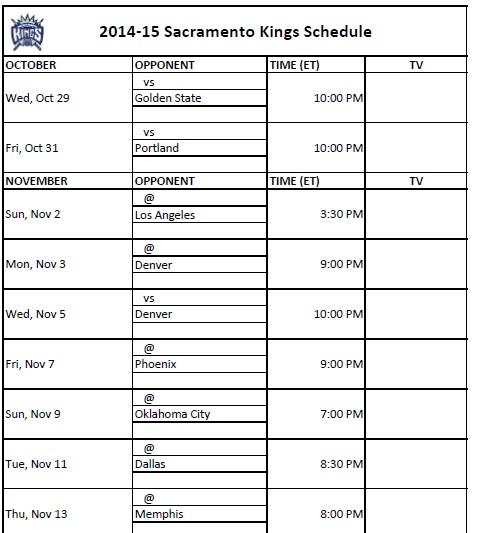 2014-15 Sacramento Kings Schedule
