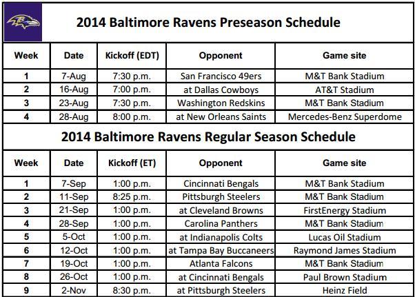2014 NFL Printable Schedules: Baltimore Ravens Schedule