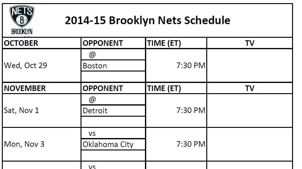 image about Celtics Schedule Printable called Brooklyn Nets - PrinterFriendly