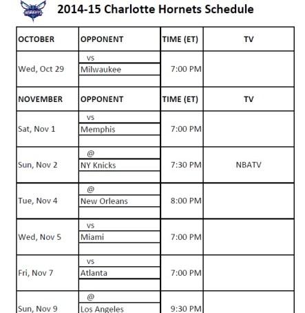 Hornets Schedule