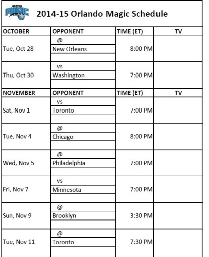Orlando Magic Schedule