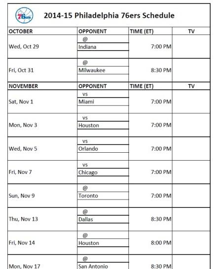 Philadelphia 76ers Schedule