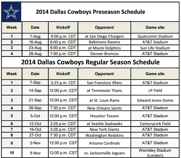 image regarding Miami Dolphins Printable Schedule titled Dallas Cowboys - PrinterFriendly