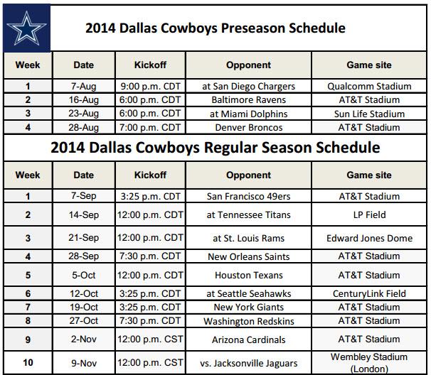 image regarding Miami Dolphins Printable Schedule titled Dallas Cowboys - PrinterFriendly