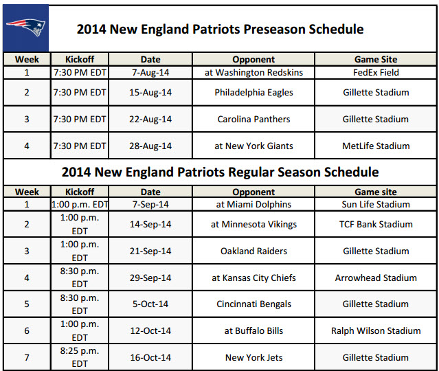 image relating to Nfl Week 2 Schedule Printable referred to as Fresh England Patriots - PrinterFriendly