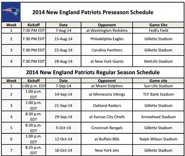 graphic regarding Patriots Printable Schedule known as Refreshing England Patriots - PrinterFriendly