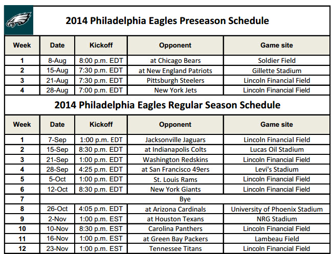 image about Philadelphia Eagles Printable Schedule known as Philadelphia Eagles - PrinterFriendly
