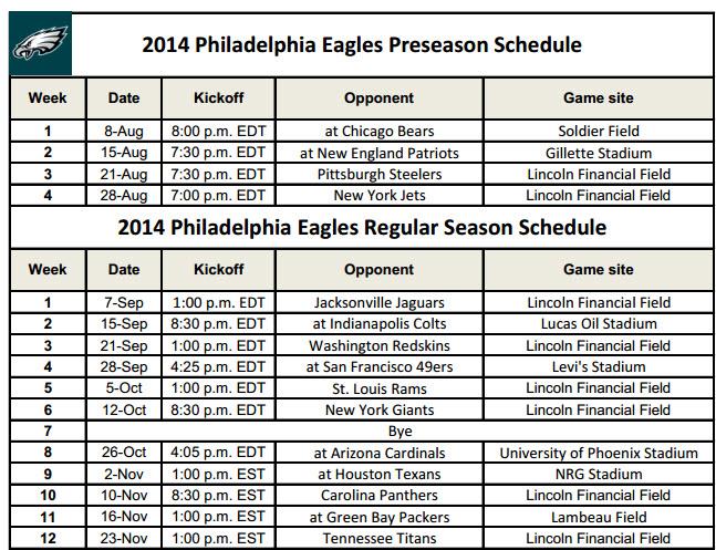 Printable Philadelphia Eagles Schedule 2014