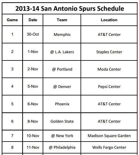photograph about San Antonio Spurs Schedule Printable known as 2013-14 San Antonio Spurs Timetable - PrinterFriendly