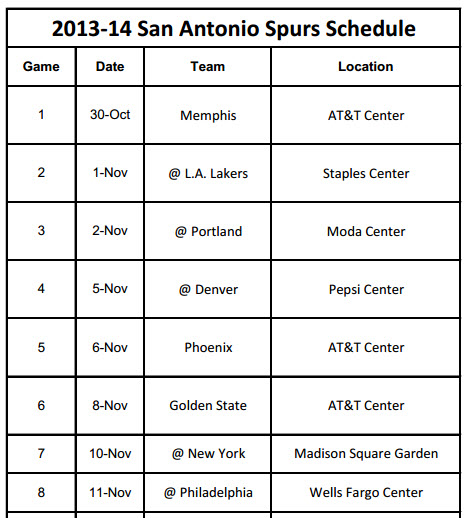 Print Schedule for San Antonio Spurs 2013-14