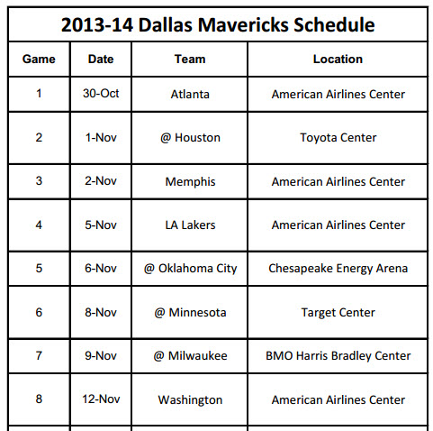 Print Dallas Mavericks 2013-14 Schedule