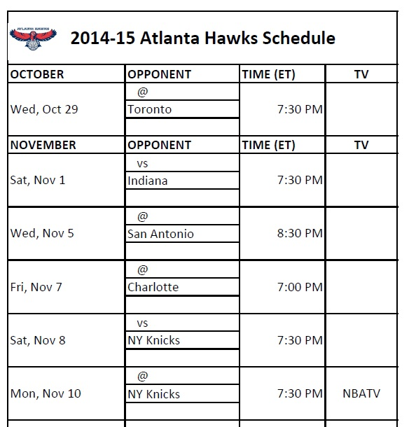 image regarding Knicks Printable Schedule named Atlanta Hawks - PrinterFriendly