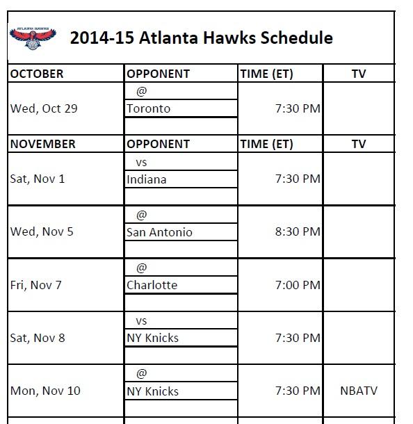 image regarding Printable Pacers Schedule referred to as Atlanta Hawks - PrinterFriendly