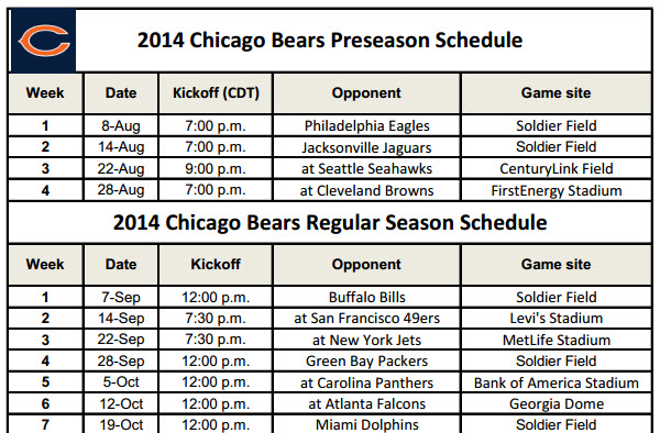 Printable Chicago Bears Schedule for 2014