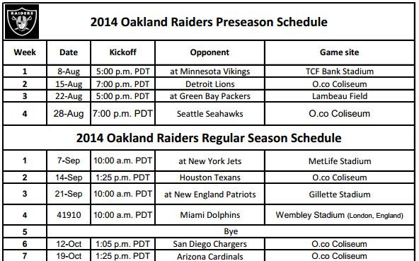 photograph regarding Raiders Printable Schedule referred to as Oakland Raiders - PrinterFriendly