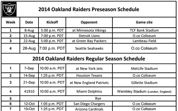 Oakland Raiders 2014 Schedule