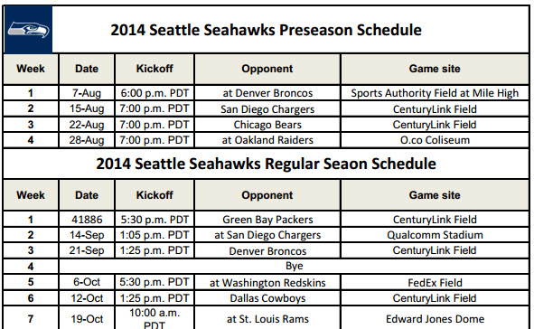 image about Printable Seahawks Schedule identify Seattle Seahawks - PrinterFriendly