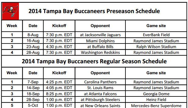 Tampa Bay Bucaneers NFL Schedule 2014