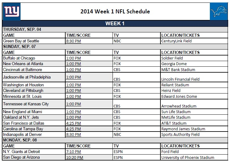 photo about Printable Nfl Schedules named 7 days 1 - PrinterFriendly