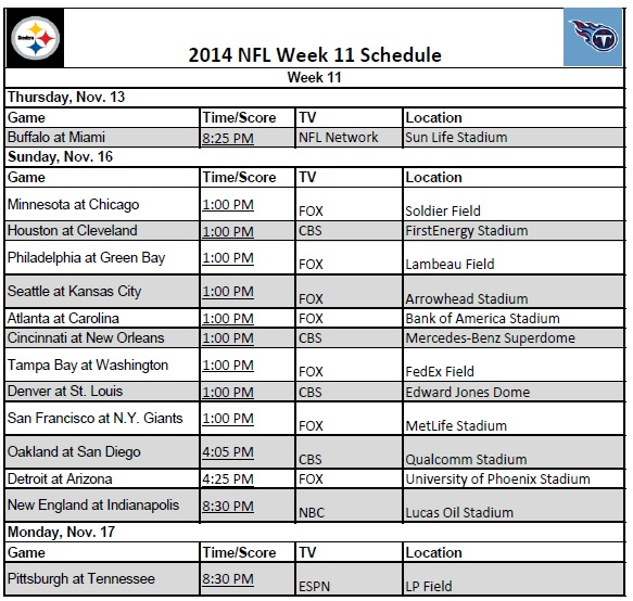 photo regarding Nfl Week 8 Printable Schedule named 7 days 11 - PrinterFriendly