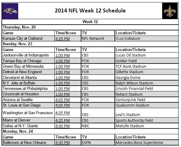 image about Nfl Week 12 Printable Schedule identify 7 days 12 - PrinterFriendly