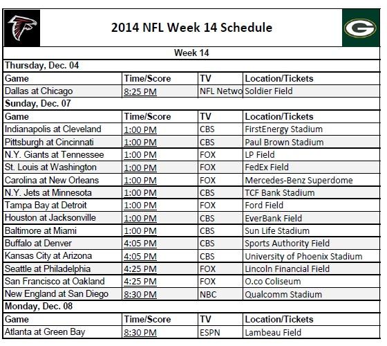 graphic regarding Nfl Week 14 Printable Schedule named 7 days 14 - PrinterFriendly