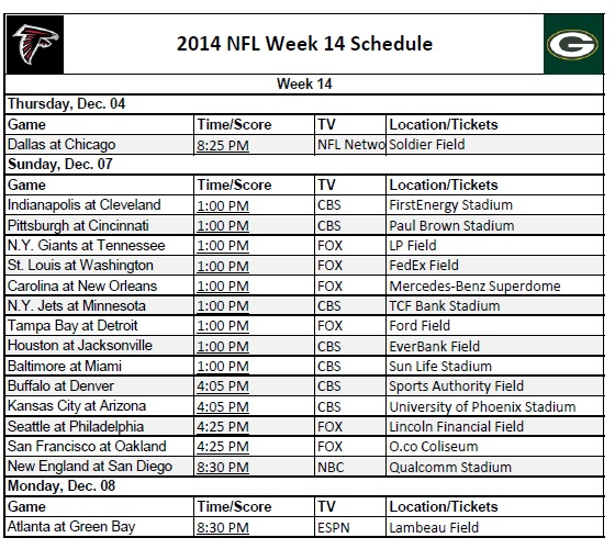 2014 NFL Week 14 Schedule