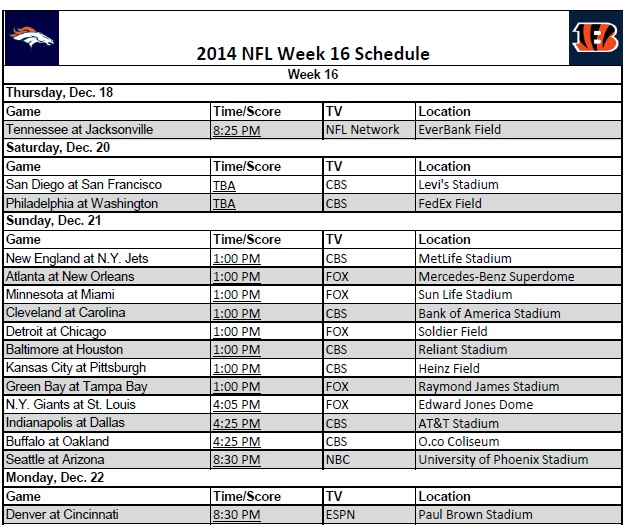 photograph relating to Nfl Week 16 Printable Schedule identified as 7 days 16 - PrinterFriendly