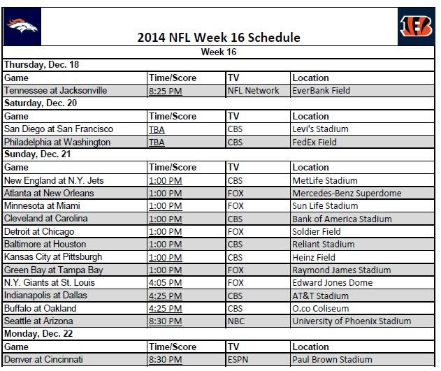 image relating to Nfl Week 4 Printable Schedule named 7 days 16 - PrinterFriendly