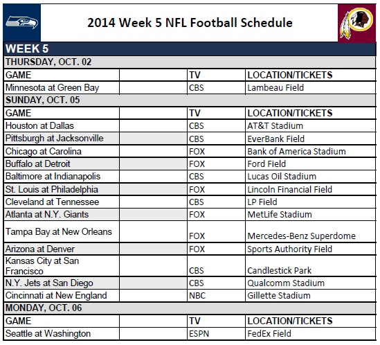 picture about Nfl Week 5 Printable Schedule called 7 days 5 - PrinterFriendly